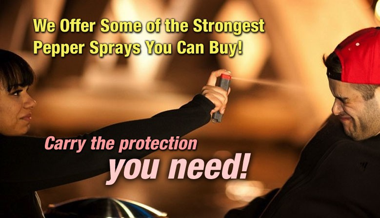 Full line of powerful pepper sprays for personal protection - some of the strongest you can find on the market